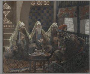 Ilustrasi Herodes menerima  orang Majus di istananya