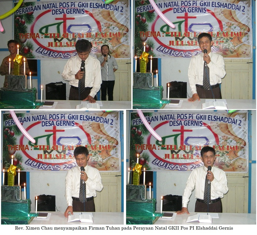 Pdt. Chau menyampaikan Firman Tuhan di Desa Gernis Jaya