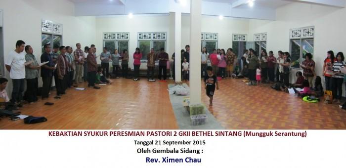 Suasana Kebaktian syukur Peresmian pastori 2 GKII Bethel Sintang