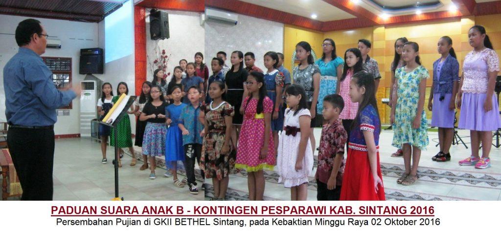 Paduan Suara Anak B PESPARAWI Kab. Sintang 2016